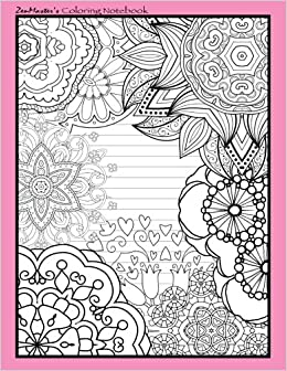 Coloring Notebook Pink Therapeutic For Writing Journaling And Note Taking With Designs Inner Peace Calm Focus 100 Pages