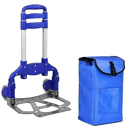 Portátil Plegable Carrito con Bolsa extraíble 2 Ruedas Aluminio Carro de Compras (Color : Azul