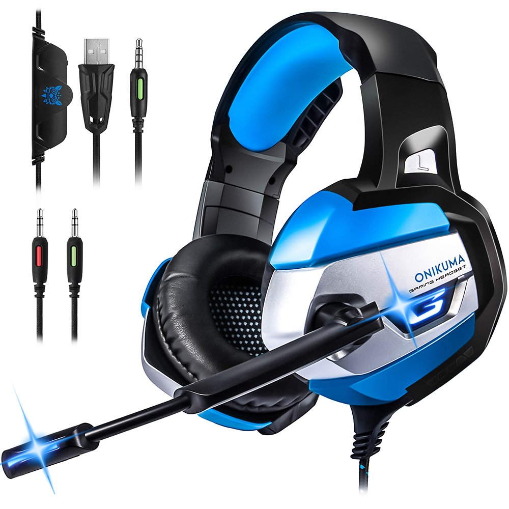 Gaming Headset for PS4, Xbox One(adapter needed)/S/X,PC, Bovon Stereo Noise Canceling Over Ear Headphones with Mic, LED Light, Soft Memory Earmuffs for Nintendo Switch (Audio) Laptop Mac