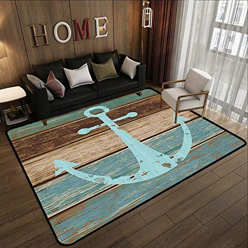 Outdoor Carpet,Anchor Decor,Boat Anchor Nautical Rustic Wooden Planks, Baby Blue Taupe and Tan 71