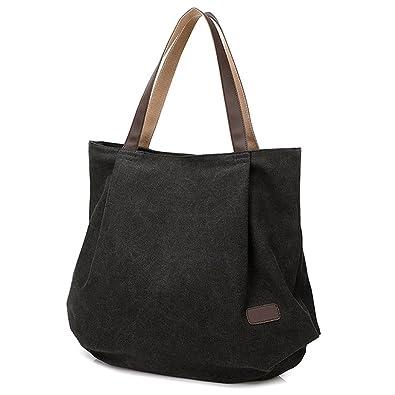 d65648fc6 Hiigoo Women's Casual Handbag Big Shoppingbags Bucket Canvas Shoulder Bags  (Black)
