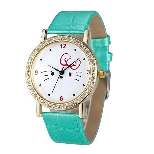 amyove moda mujeres cuarzo reloj de pulsera diamante gato analógica piel señoras relojes 2016 color: verde: Amazon.es: Relojes