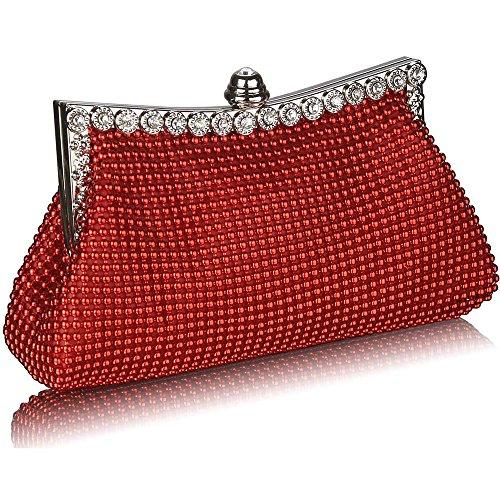 TrendStar - Cartera de mano mujer Rojo - Red Clutch Bag