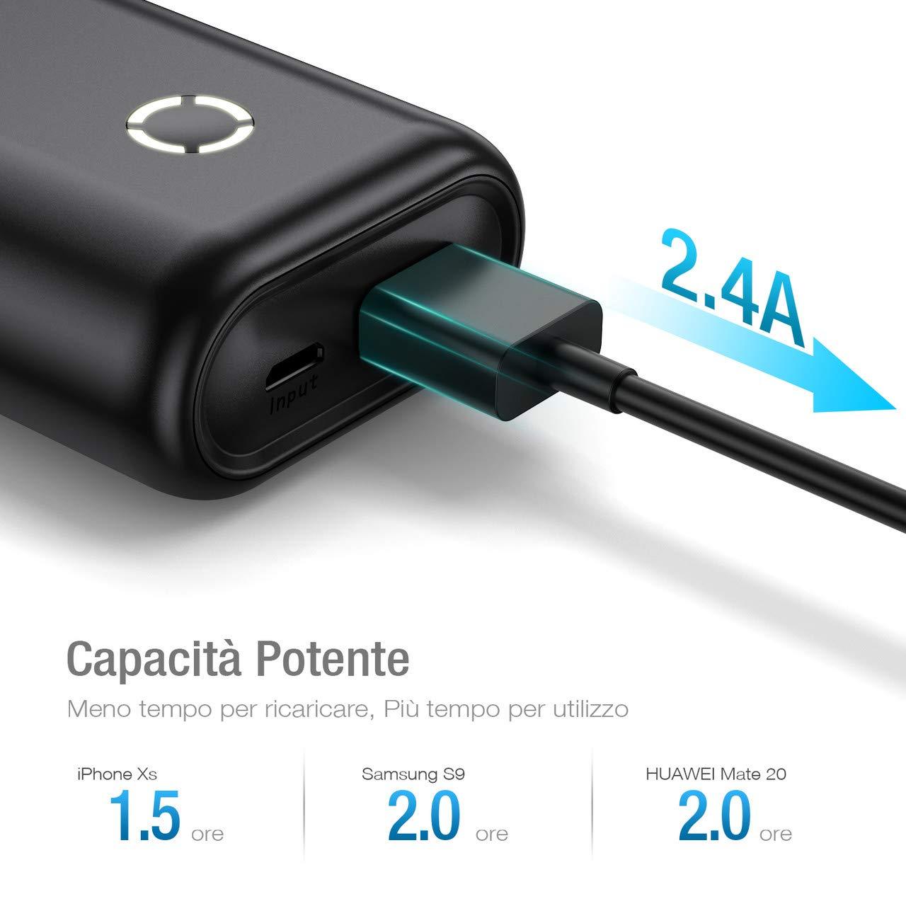 POWERADD EnergyCell Caricatore Portatile 10000mAh powerbank Output da 2.4A Portatile Caricabatterie per Huawei, Samsung, iPhone, Xiaomi - (Un Cavo Micro USB)