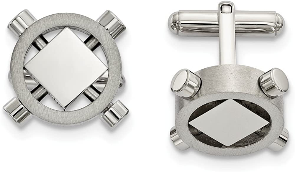 Stainless Steel Brushed and Polished Cuff Links 20.78 mm