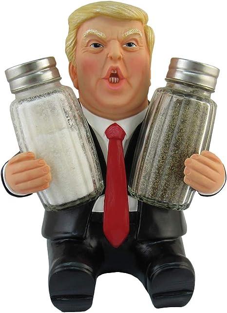 Ceramic Salt /& Pepper Shaker Set Donald Trump US President Design in Gift Box