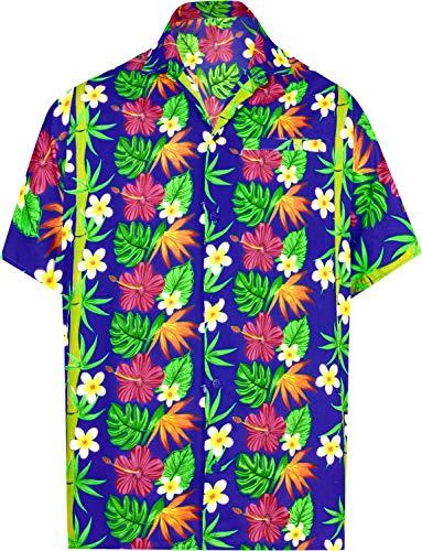 (LA LEELA Likre Soft Silk Printed Shirt Royal Blue 508 2XL  Chest 54
