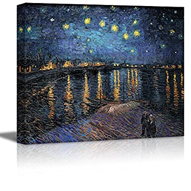 Wall26® - Starry Night over The Rhone by Vincent Van Gogh - Oil Painting Reproduction on Canvas Prints Wall Art, Ready to Hang - 16  x 20