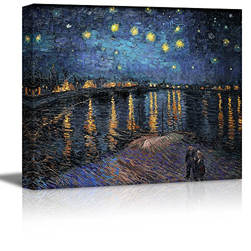 Wall26 - Starry Night over The Rhone by Vincent Van Gogh - Oil Painting Reproduction on Canvas Prints Wall Art, Ready to Hang - 16