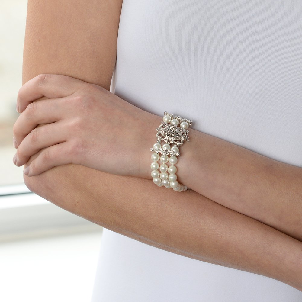 Mariell Genuine Freshwater Pearl 3-Strand Bridal Bracelet - Luxe 3-Row Pearl Bracelet with CZ Clasp by Mariell (Image #3)