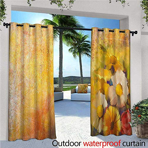 Balloons Daisy Gerbera (familytaste Yellow Flower Fashions Drape Oil Painting Style Bouquet of Rose Daisy Gerbera Flowers Grunge Display Outdoor Curtain Waterproof Rustproof Grommet Drape W96 x L108 Mustard Orange)