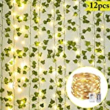 LED Artificial Vine Leaves, JUSTDOLIFE 12 Pack Artificial Vine Leaves Artificial Ivy Hanging Plants Decor with 200 LEDs Party Light for Home Party Wedding Decor