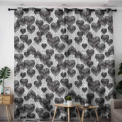 XXANS Kids Curtains,Romantic,Gothic Hearts Tattoo,Insulated with Grommet Curtains for Bedroom,W72x108L