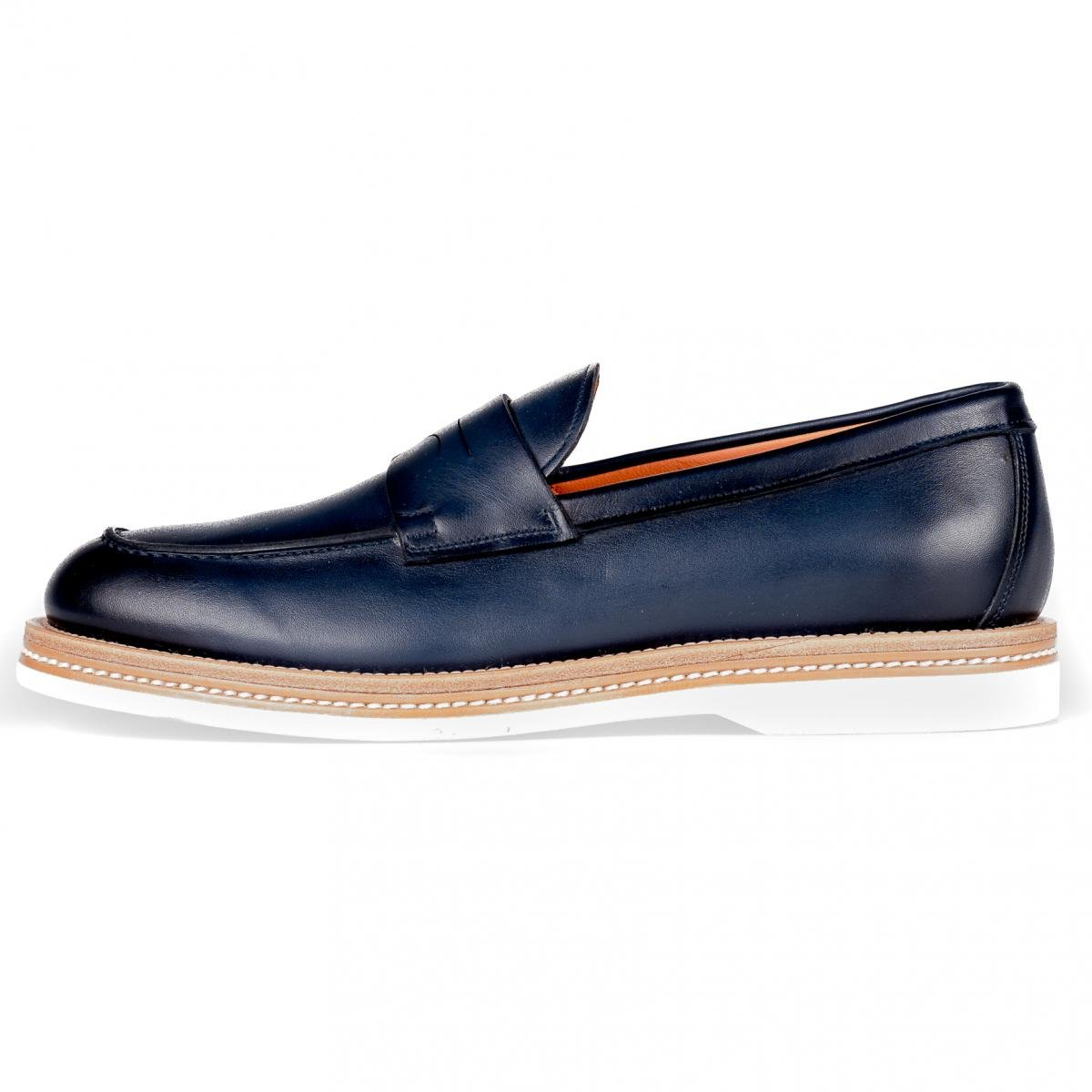 Mocassino UOMO Santoni Blue Pelle Made IN Italy MGMN12940JM3IGTUU44 8.5