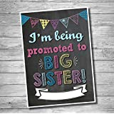 "Katie Doodle #PA001 Pregnancy Announcement Poster ""I'm Being Promoted To Big Sister"" - Baby Birth Announcement, Funny Pregnancy Reveal Surprise For Kids, Chalkboard Photo Shoot Prop For Social Media"