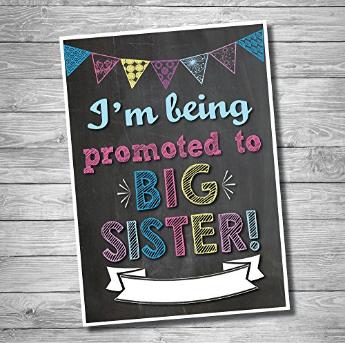 Newborn Baby Birth Announcement - Katie Doodle PA001 Sign, Promoted to Big Sister Baby Birth Announcement, Pregnancy Reveal Surprise Board, Chalkboard Style Photoshoot Prop for Social Media, 12x18 inches, Black