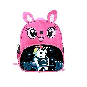 Mochila de unicornio para niños, diseño de dibujos animados y conejos, personalizable, ligera