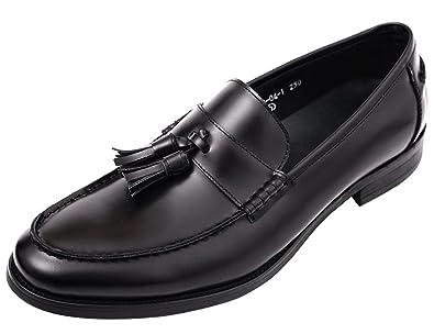 2e97034d980 Santimon Mens Shoes Penny Loafers Tassel Slip On Dress Shoes Leather Oxfords  Black 5 D(