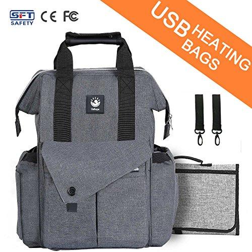 Baby Diaper Bag Backpack Changing Pad Set USB Heating Multi-