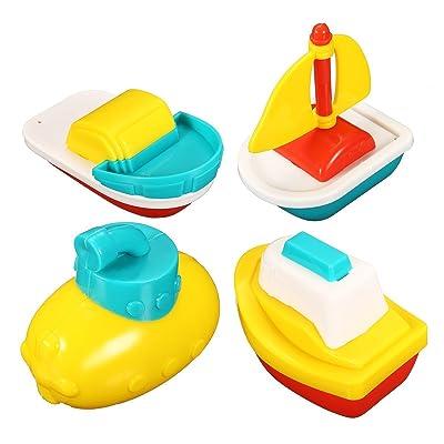 OFKPO 4 Pcs Juguetes de Baño - Barcos Flotantes en la Bañera para Bebés Niños: Electrónica
