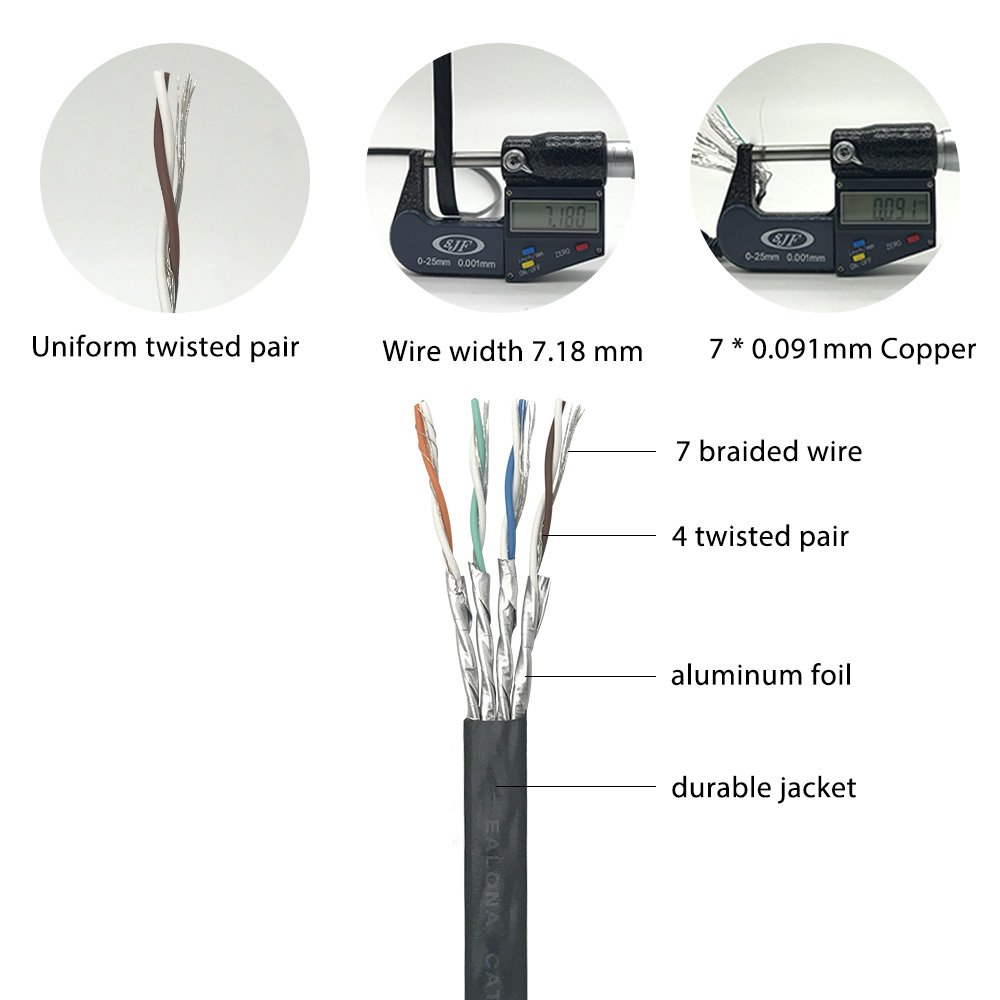 Cat7 Ethernet Cable 50 Ft Black Ealona 32 Awg Fast Network Cables Cat5e Flat Patch Foot Bare Copper 10gbps 600hmz Better Than Cat6 Cat6a With Gold Plating Rj45