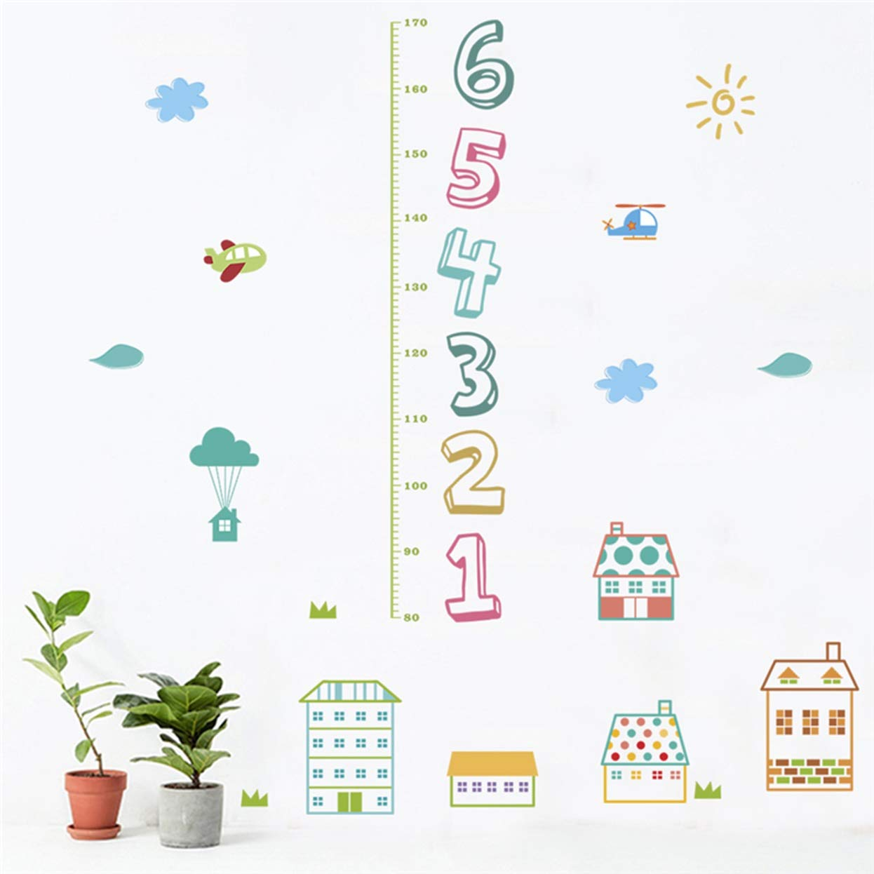 Chiam mart 1 pc cartoon house children number wall stickers height measure diy poster flower dinosaur sun decals baby living room car decal radiant