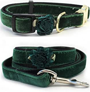 "product image for Diva-Dog 'Mistletoe Pine Green' Custom Small Dog 5/8"" Wide Velvet Dog Collar with Plain or Engraved Buckle, Matching Leash Available - Teacup, XS/S"