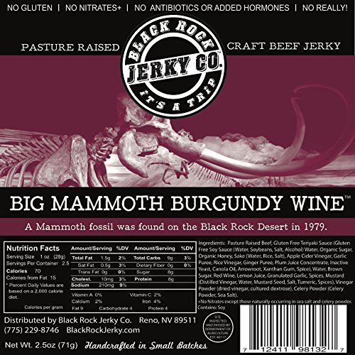 Black Rock Jerky Co. Beef Jerky, Big Mammoth Burgundy Wine, 2.5 Ounce -  Diggin' Your Dog