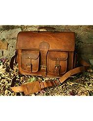 Vintage Genuine Leather Laptop Briefcase messenger satchel bag