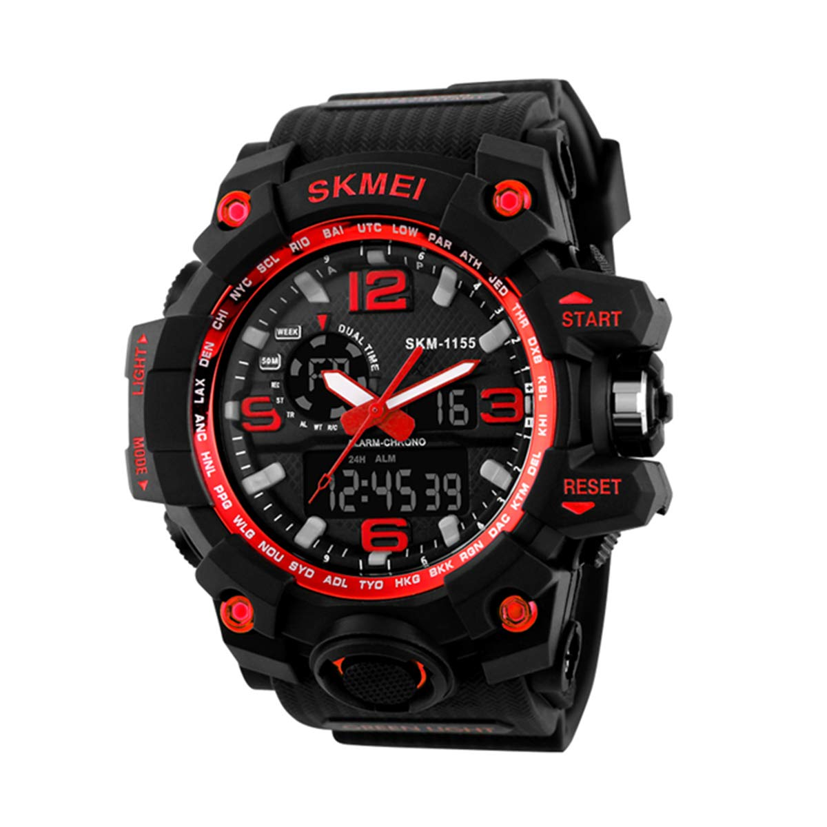 Forrader - Reloj de pulsera para hombre, digital, resistente al agua, LED