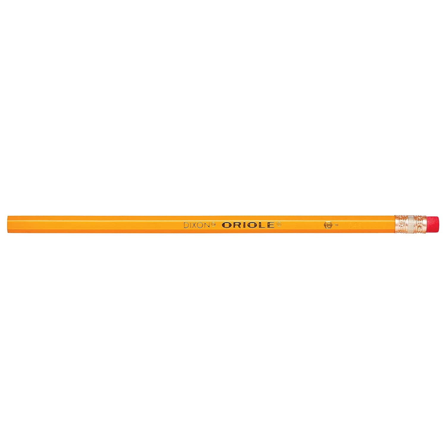 Pre-Sharpened 12886 Yellow 12-Pack #2 HB Graphite DIXON Oriole Wood-Cased Pencils with Erasers