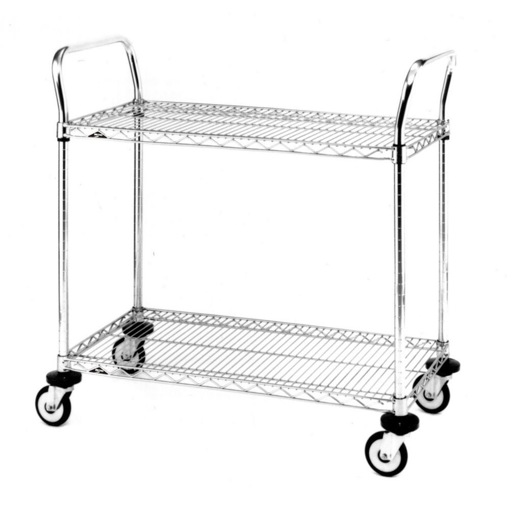 Metro MW Series Chrome Plated Wire Utility Cart, 2 Shelves, 375 lbs Capacity, 24 Length x 18 Width x 38 Height