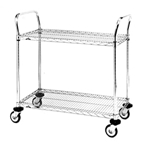 "Metro MW601 MW Series Chrome Plated Wire Utility Cart, 2 Shelves, 375 lbs Capacity, 24"" Length x 18"" Width x 38"" Height"