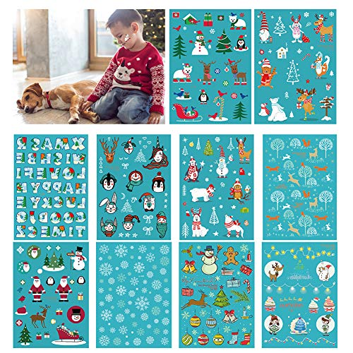 Augoog Christmas Temporary Tattoos Glow in The Dark for Kids Boys Girls Xmas Party Favors with Santa Claus Snowman Reindeer - 10 Sheets -