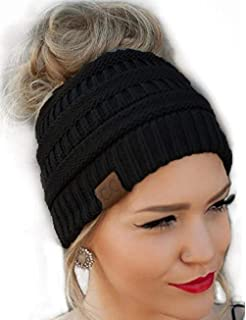 a0586f75784 C.C BeanieTail Soft Stretch Cable Knit Messy High Bun Ponytail ...