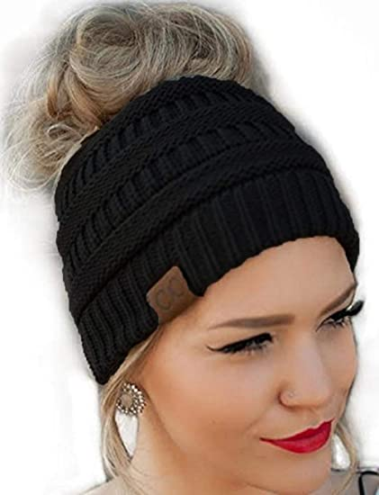 174627229 CC Quality Knit Messy Bun Hat Beanie