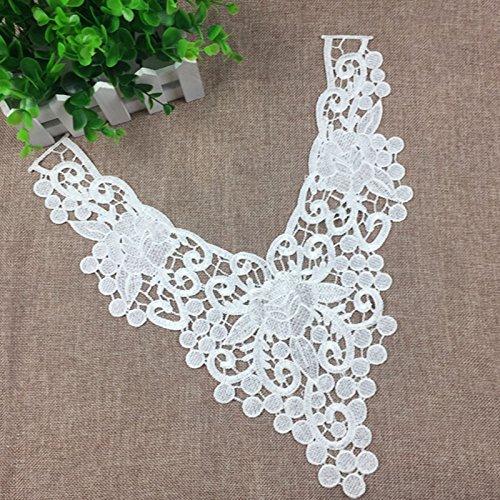 perfk Elegant Stickerei Spitze Blumen Patch Motiv Kragen Nähen Applikation Für DIY Kleid Dekor Weiß