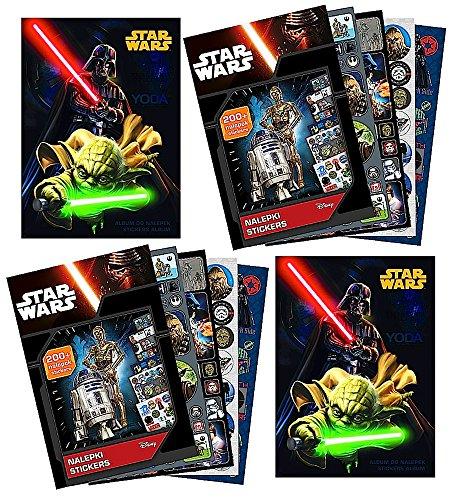 STAR WARS - 2x Sammel-Album + 2x Sticker-Heft (mit 400 Stickern + 18 Ausmal-Seiten) - Motiv: Yoda + Darth Vader - Aufkleber zum sammeln und tauschen