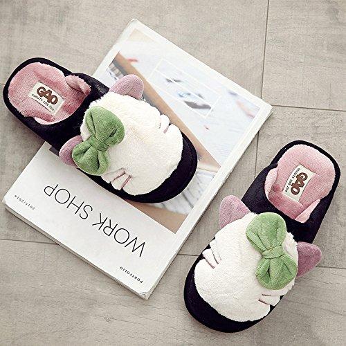 Pantoufles De Coton Fankou Épais Hiver Femme Chaude Mignonne Douce? Semelles Souples Antidérapantes Intérieur, 40-41, Blanc En Noir Et Blanc