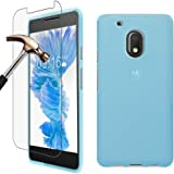 Moto G Play (4th Gen.) Case + Screen Protector, Gzerma Shock-Absorption Bumper and Anti-Scratch TPU Soft Gel Cover and Explosion-proof Protective Film for Motorola Moto G4 Play (2016) (Frosted Blue)