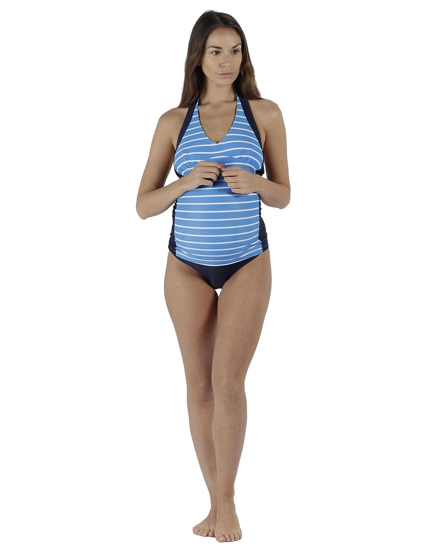 The Essential One - Femme Maternité Tankini Nautique - Marine Bleu/Bleu/Blanc - EOM209