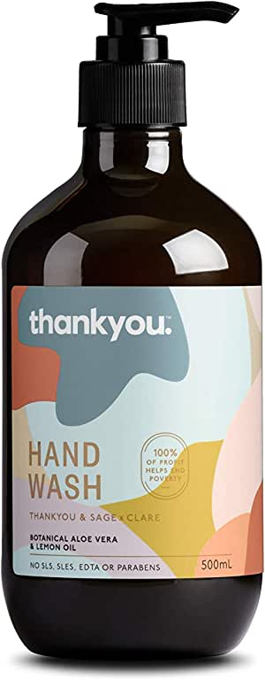 Thankyou & Sage x Clare Botanical Aloe Vera & Lemon Oil Hand Wash, 500ml (more options available)