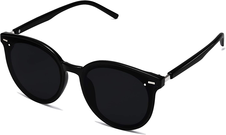 SOJOS Classic Round Retro Plastic Frame Vintage Large Sunglasses BLOSSOM SJ2067 with Black Frame/Grey Lens: Clothing