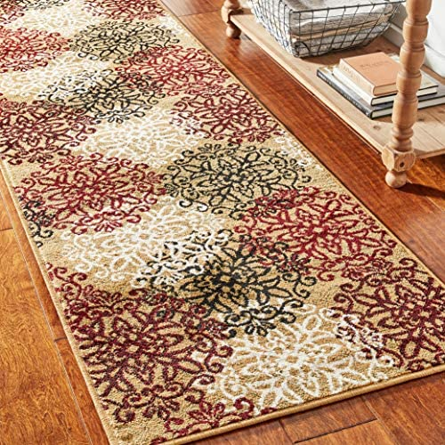 Superior 8mm Pile Height with Jute Backing, Chic Contemporary Floral Medallion Pattern, Anti-Static, Water-Repellent Rugs, 2 7 x 8 Runner, Gold