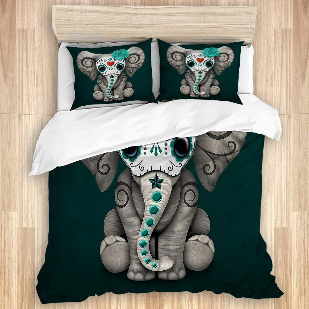 ZOMOY Duvet Cover Set, Teal Blue Day of The Dead Sugar Skull Baby Elephant, Decorative 3 Piece Bedding Set with 2 Pillow Shams