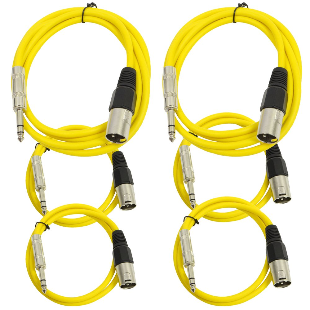 Seismic Audio - SATRXL-M6C-Yellow - 6 Pack of Yellow XLR Male to 1/4 Inch TRS Patch Cables- XLR to TRS Cable Kit - Two 6 ft, Two 3 Ft, Two 2 ft XLR-M to 1/4'' Patch Cords
