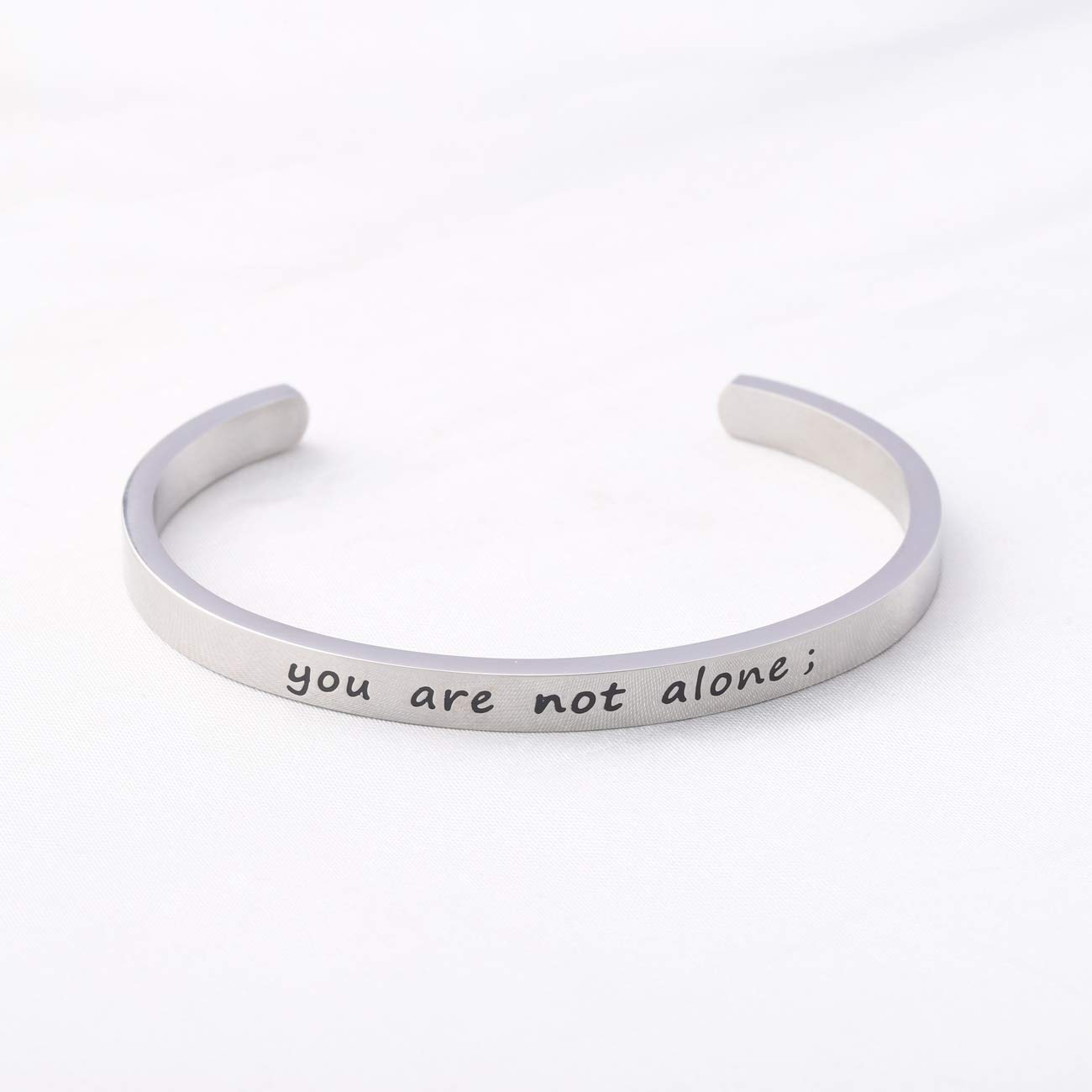 WUSUANED Friendship Bracelet You are Not Alone Cuff Bracelet Inspirational Quote Jewelry Encouragement Gift for Best Friend