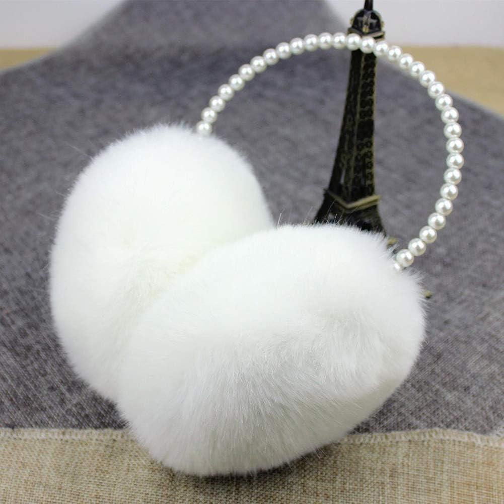 Faux Fur Earmuffs Pearl Decor Ear Muffs Winter Warmer Earlap Christmas Headwear Accessories for Women