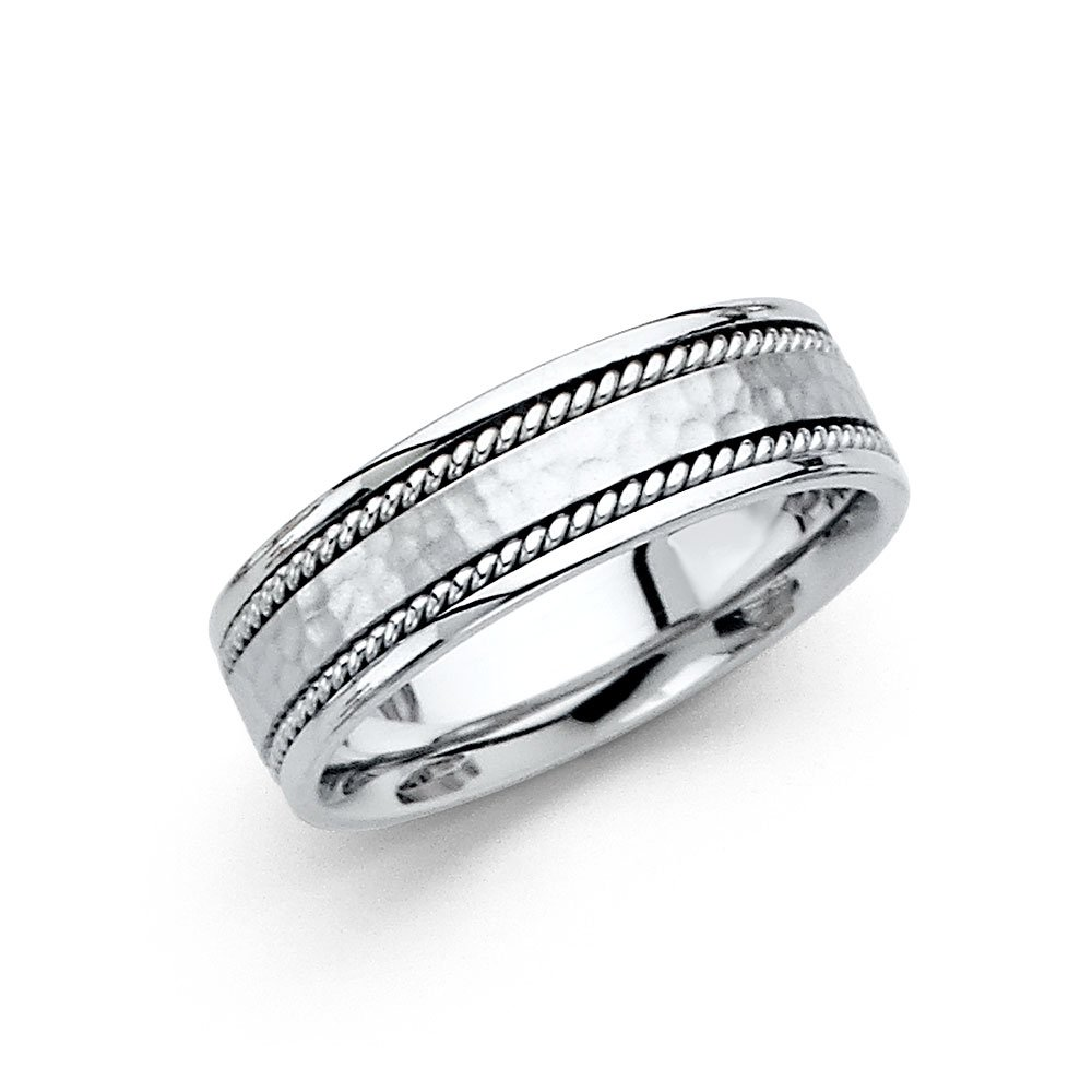 Solid Wedding Band 14k White Gold Ring Hammered Finish Rope Edge Comfort Fit Mens Womens 6 mm, Size 7