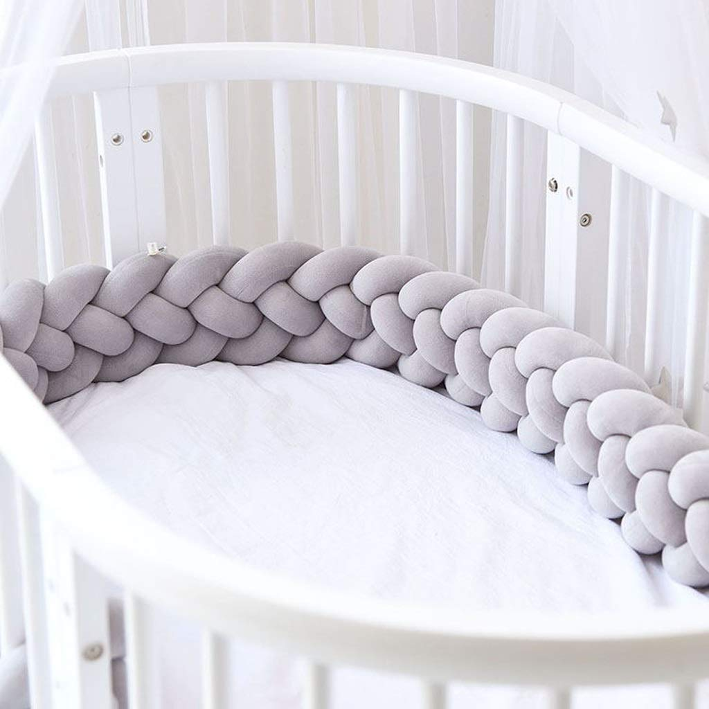 VAIY 4 Weaving Bed Rails Cot Bumper Braid Pillow Nursery Decorations Soft Braided Bumper for Crib Nursery (Color : Gray, Size : 220cm) by VAIY